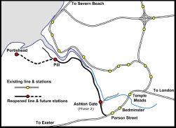 Portishead line reopened map